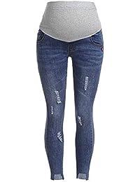 Lonshell Damen Umstandsmode Lange Hose Freizeithose Umstandsleggings Jeans für Schwangerschaft Maternity Komfortable Elastische Bund Schwangerschaftshose Denim Umstandsjeans