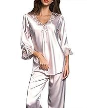 ZhuiKunA Pijamas Mujer Camisones Satén Suave y Cálido Manga Larga ...