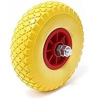 Carretilla rueda de poliuretano 3.00-4 goma maciza con eje de acero, a prueba de pinchazos, amarilla