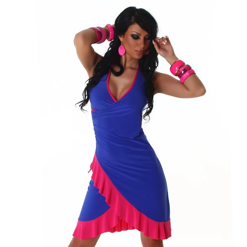 Jela London Unità Dress abito da cocktail da ballo con scollo a V bicolore colori correnti delle donne Blu rosa 36,38,40,42