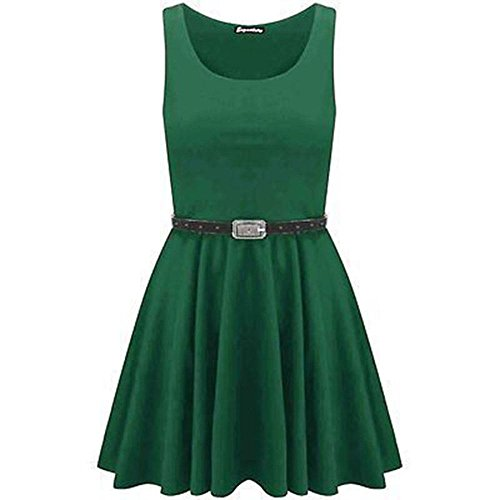 Womens Skater Dress Belted Sleeveless Short Mini Party Franki Flared Top 8-26 Jade Vert