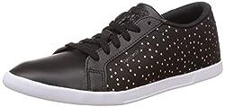 Reebok Womens Npc Mini Core Txt Black, White and Gold Leather Tennis Shoes - 6 UK