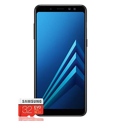 Samsung Galaxy A8 (2018) Smartphone, Black, Display 5.6', 32 GB Espandibili, Dual SIM [Versione Italiana] + Micro SD 32 GB Samsung EVO Plus