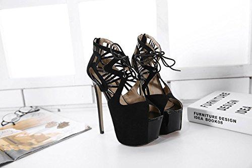 LvYuan-mxx Chaussures femmes talons hauts / printemps été / imperméable plate-forme sangles croisées bouche de poissons / bottes cool / Bureau et carrière Banquet robe / talon aiguille / sandales BLACK-39