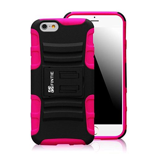 Fintie iPhone 6S Plus / iPhone 6 Plus Hülle Tasche Schutzhülle Case Etui - [Guardian Serie] Dual-Layer Holster mit Ständer und drehbarer Gürtelclip für Apple iPhone 6S Plus / iPhone 6 Plus (5.5 Zoll)  Schwarz/Magenta