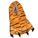 Happy Cherry - Zapatillas de Invierno para Adulto Unisex de Animal Zapatos Garras de Tigre de Franela Suave Treje de Disfraz para Carnaval Halloween - Tigre - Talla ES 35-40