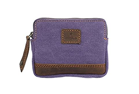 CACTUS Toile Porte-Monnaie avec garniture en cuir et protection RFID 4139_81 Violet