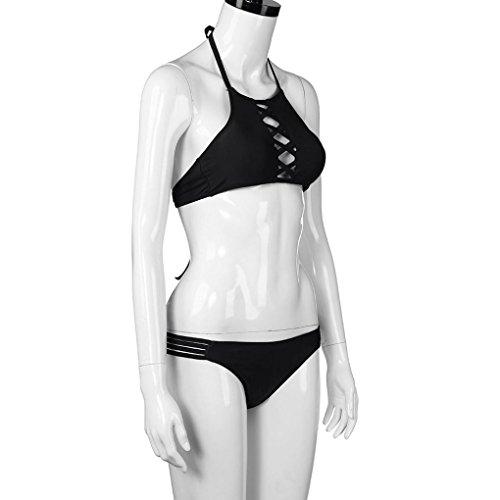Costume da bagno imbottito a spingere 4 fasce di seta del bikini delle donne di colore Black
