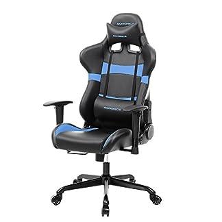 Songmics Racing Silla de escritorio Silla giratoria de oficina con soporte lumbar Negro + Azul RCG22L
