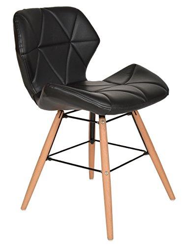 1 x Design Chaise Rembourrée Faux Cuir Noir Bar Cuisine Salle à Manger Salon Bois de Hêtre