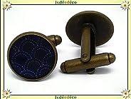 2 gemelli polsino bottoni resina mare onda Giappone seigaiha blu ottone bianco bronzo regali personalizzati Na