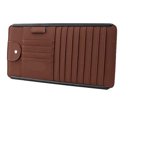 Multifunktions-Karten-Kartenhalter, Auto-CD-Aufbewahrungsbox, Auto-CD-Disc-Paket, Brille Clip, Stift-Speicher-Slot, Größe 315 * 165Mm,Brown