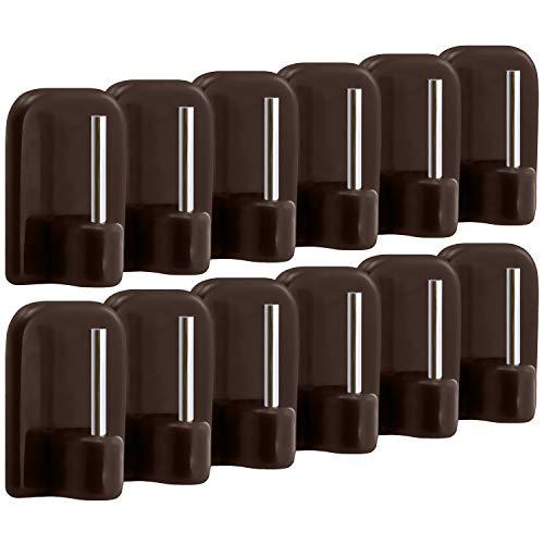com-four® 12 Crochets pour Rideaux autoadhésifs pour vitragestangen dans Sparpack en Marron (12 pièces)