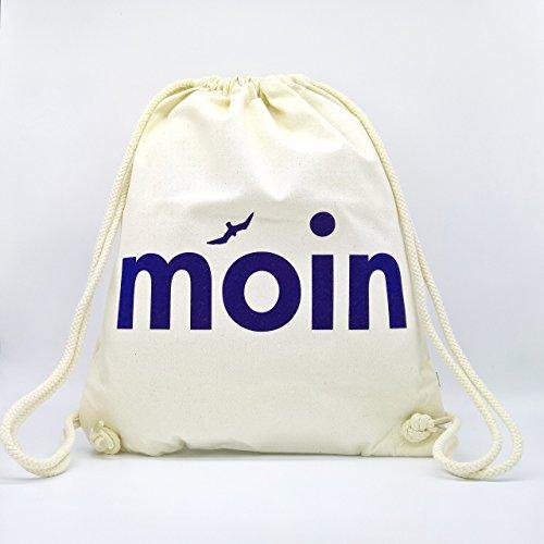 Turnbeutel Moin - Handmade von Ahoi Marie - Hipster Sport-Beutel in weiß - Maritimer Stoff-Rucksack aus zertifizierter Bio Baumwolle -
