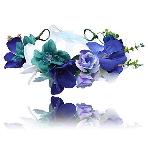 AWAYTR Damen Mädchen Blumenkrone Stirnband Haarkranz - Bohemien Einstellbar Blumenstirnband mit Beeren Hochzeit Haar Kranz für Kinder Festival Kopfschmuck Blumengirlande (Tiffany blau + blau) -