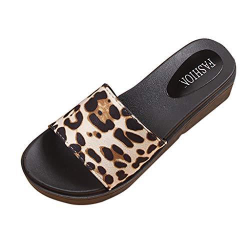 Smonke Hausschuhe Damenmode Glänzende Schuhe mit niedrigem Absatz Flacher Boden rutschfeste Strandhausschuhe Lässige Sandalen mit Leopardenmuster Einfache Sommer-Hausschuhe