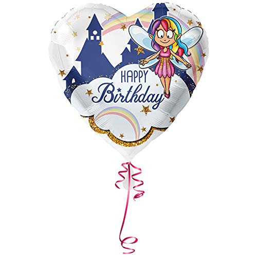 Unbekannt > > > Fertig Heliumbefüllt < < < Folienballon großer Herz Ballon mit Helium/Ballongas gefüllt Happy Birthday mit Fee Elfe