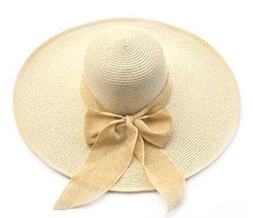 Leisial Mujeres Sombrero de Paja Plegable Gorro de Playa Protectora del Sol Anti-ultravioleta Grande Ala Ancha Sombrero al Aire Libre Verano Color Beige