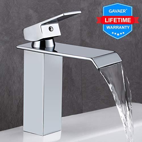 GAVAER Wasserfall Wasserhahn Bad, Elegant Moderner Stil Waschtischarmatur, Premium-Qualität Keramikventil, Massivem Messing, Verchromung Prozess.