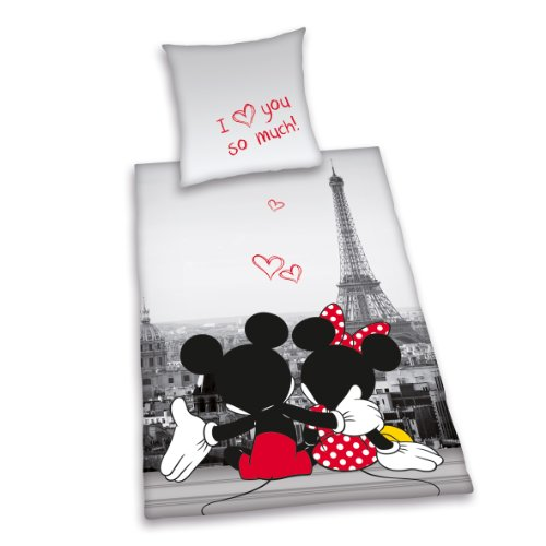 Herding 487809050412 Bettwäsche Mickey und Minnie Mouse Paris, Kopfkissenbezug 80 x 80 cm und Bettbezug 135 x 200 cm, 100 % Polyester, Microfaser