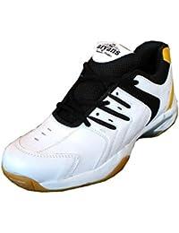 Aryans performance mens Badminton shoes-flash white yellow