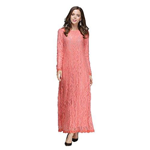 ETOSELL Femmes Islamiques Musulmans Retro Long Robes De Soiree Rose