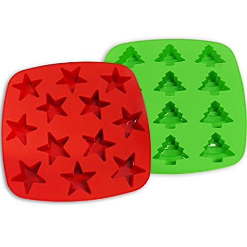 Silicone Moulds 12-Cavity Mini Star & Tree Shapes, 2Pack, Red & Green