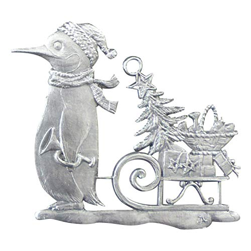 Pinguin mit Weihnachtsschlitten von Hand patiniert aus Zinn, Christbaumschmuck, Weihnachtlicher Zierschmuck