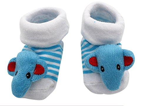 ♚ Anti-Rutsch-Socken für neugeborene Kinder 0 - 12 monate Fantasie himmlischer Elefant Linien unisex feminino Junge (Himmlische Nachricht)