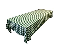 LinenTablecloth 60 x 126-Inch Rectangular Polyester Tablecloth Green & White Checker