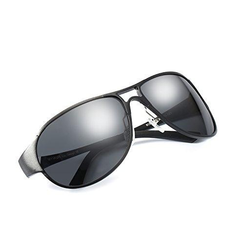 Pilotenbrille Sonnenbrille Herren Polarisiert 100% UV400 Schutz Metallrahmen Leicht für Autofahren (Grau/Grau)