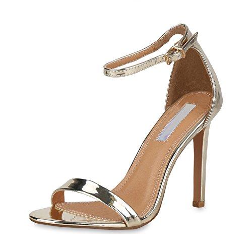 SCARPE VITA Damen Sandaletten High Heels Elegante Abendschuhe Basic Stilettos 157808 Gold 40