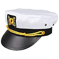 Clearance! MILL.GD88 Sailor Ship Yacht Boat Captain Hat Navy Marines Admiral White Gold Cap Captain