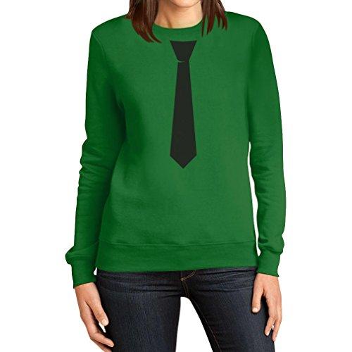 Schwarze Krawatte zum Frack Karneval Fasching JGA Frauen Sweatshirt X-Large (Frack Kostüm Grüne)