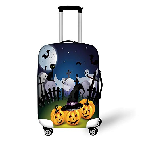 Travel Luggage Cover Suitcase Protector,Halloween,Funny Cartoon Design with Pumpkins Witches Hat Ghosts Graveyard Full Moon Cat Decorative,Multicolor,for TravelXL 29.9x39.7Inch