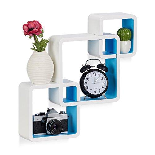 Relaxdays 10021803_361 3 mensole da parete per soggiorno, laccato opaco, elevata capacità di carico, bianco-blu