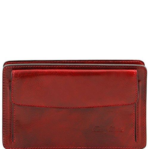 Tuscany Leather Denis - Elégante pochette en cuir pour homme - TL141445 (Marron foncé) Rouge