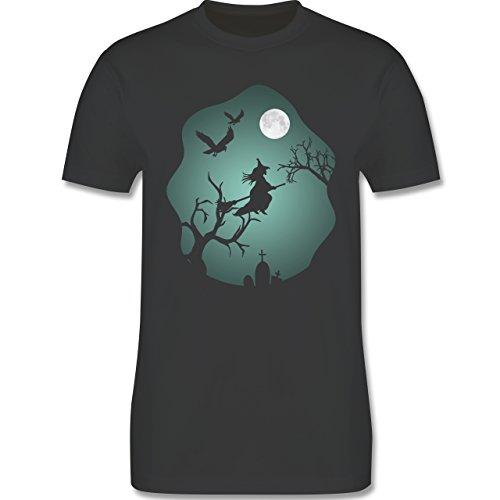 Halloween - Hexe Mond Grusel Grün - Herren Premium T-Shirt Dunkelgrau
