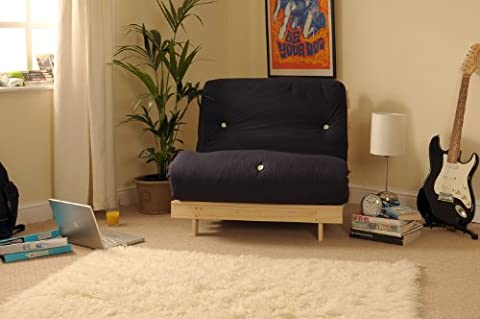 2ft6 Small Single Wooden Futon Set with BLACK
