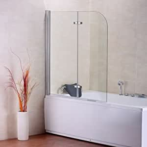 Aica 1200x1400mm 180 Degree Pivot Bath Screen with Hinge 6mm Tempered Easyclean Glass, Metal, Chrome, 120 x 2.6 x 140 cm