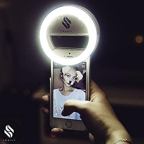 Smart® anneau de selfie lumineux pour tous les téléphones | version 2017 | 36 lampes à LED pour un effet lumineux autour de cercle de Pupilles | lumière blanche des stylistes professionnel | 3 niveaux de luminosité pour les selfies parfait | Batterie Propulsé | Selfie lumineux pour iPhone 5 5C 6 6S 6Plus 7Plus, Samsung Galaxy S5 S6 S7, Huawai, Sony et bien d'autres