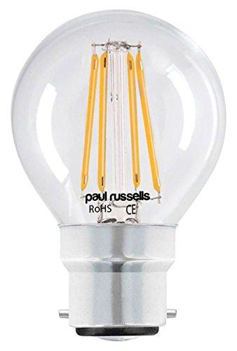 6x Vintage Stil Bajonettsockel LED Filament klar Leuchtmittel 2W antik Golf Light Dekorieren Home G45Kleine runde Globe 360Abstrahlwinkel Lampe, B22BC 2700K warm weiß - Globus Mittlere Schraube