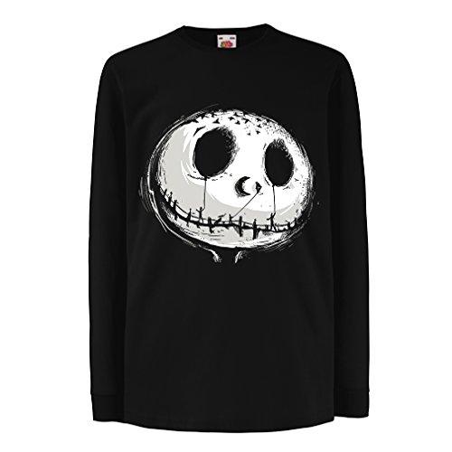 irt mit langen Ärmeln beängstigend Schädel Gesicht - Alptraum - Halloween-Party-Kleidung (7-8 years Schwarz Mehrfarben) (Kostüm Ideen Beängstigend)