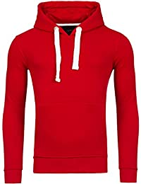 Young & Rich Hoodie Herren Basic Sweater Sweatshirt Uni Hoody Kapuzenpullover Pullover mit Kapuze in der Farbe Rot L