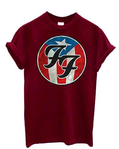 T-shirt Uomo Foo Fighters - USA Theme Maglietta 100% cotone LaMAGLIERIA,L , Burgundy