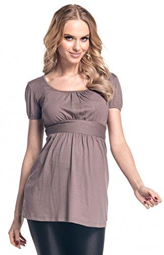 Happy Mama. Damen Umstands-Top Empire-Taille. Schwangerschafts Shirt. 408p Cappuccino