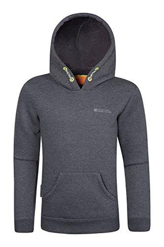 Mountain Warehouse Sweat-shirt à capuche enfant Garçon fille Junior Unisexe Doublure fourrure Automne Hiver Noir Charbon 7-8 ANS