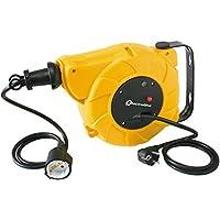 Electraline 100237 - Enrollacables eléctrico automático a Resorte con alargador (15 m, 250 V) Color Amarillo