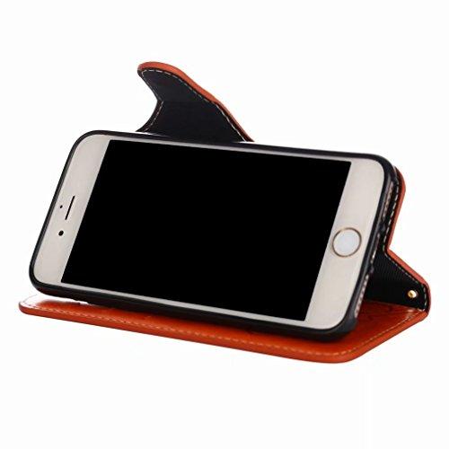 LEMORRY Apple iPhone 8 Custodia Pelle Portafoglio Guardare-Supporto Morbido interno TPU Silicone Bumper Protettivo Magnetico Slot per schede Cuoio Borsa Flip Cover per iPhone 8 con Polso Cinghia, Retr Arancione brillante