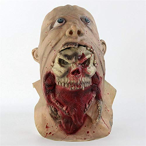 Liangliang Zombie Maske COS Essen Geister Gehen Tot Kopfhaut Halloween Horror Maske Biochemie Blutigen Übelkeit Rot (Zombie Essen Halloween-party)